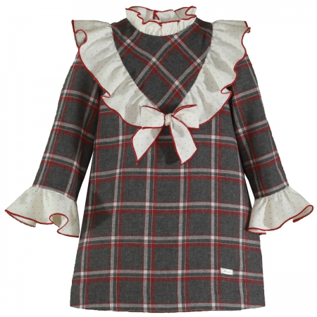 Miranda Autumn Winter Girls Grey Red Cream Check Dress