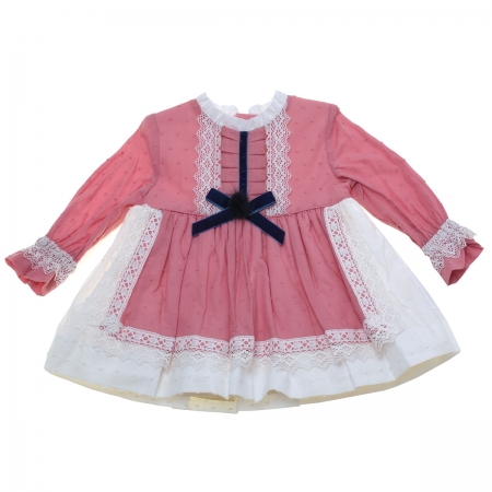 Sale Miranda Baby Girls Dusky Pink Dress Ivory Lace Navy Bow