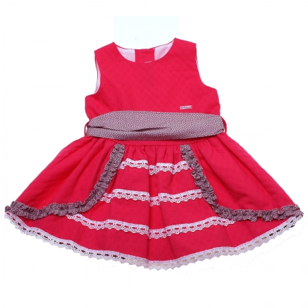 Sale Spring Summer Spanish Miranda Baby Girls Coral Red Dress White Lace Brown Frills