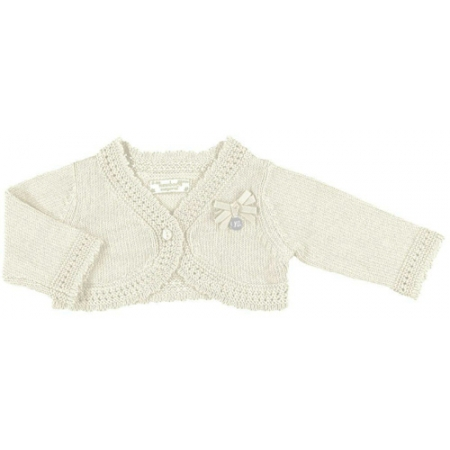 Mayoral baby girls knitted ivory bolero with bows on chest