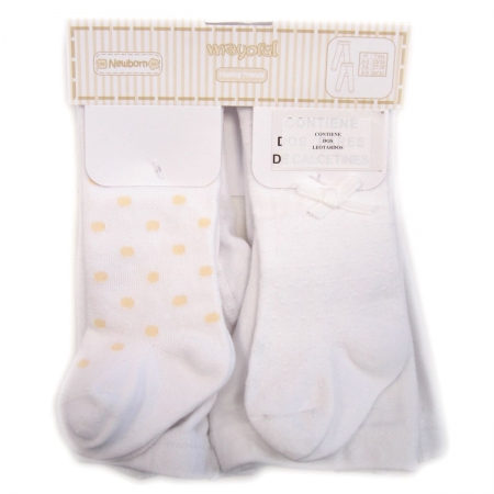 Two pairs Mayoral baby girls tights in white