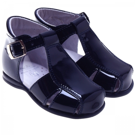 Baby Boys Navy Patent Leather Roman Sandals