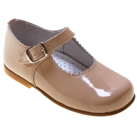 Girls Baby Caramel Patent Mary Jane Shoes Scallop Rim