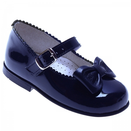 Girls Navy Patent Shoes Scallop Edge With a Bow