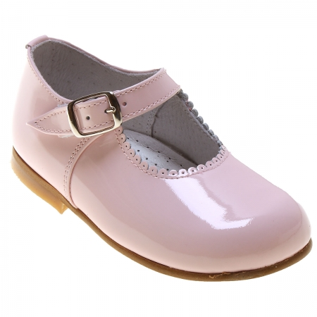 Girls Pink Patent Mary Jane Shoes Scallop Rim
