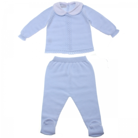 Baby Boys Two Piece Knitted Blue Outfit With Cable Pattern