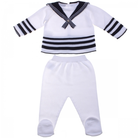 Baby Boys Two Piece Knitted Nautical Styled Outfit