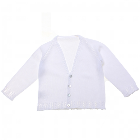 Baby Boys Soft Cotton White Cardigan