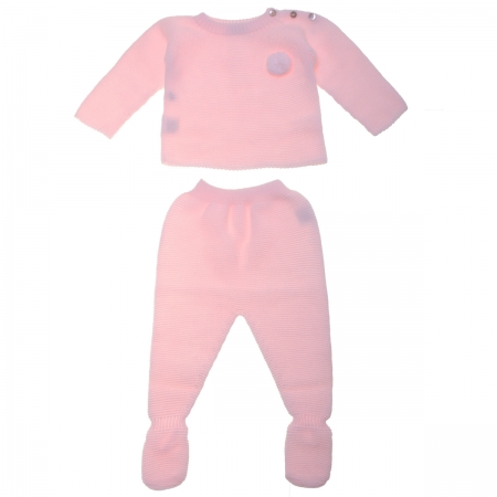 Baby Girls Pink Knitted Two Piece Set Decorated By Pom Pom