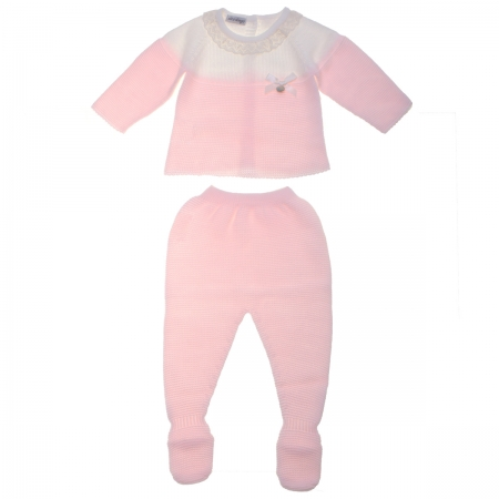 Baby Girls Knitted Pink Ivory Top And Footed Trouser Set