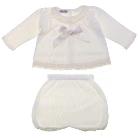 Baby Girls Knitted Ivory Top And Shorts Set With Bow