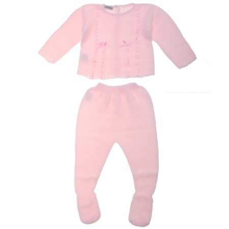 Baby Girls Knitted Pink Ribbon Bows Top And Footed Trouser Set