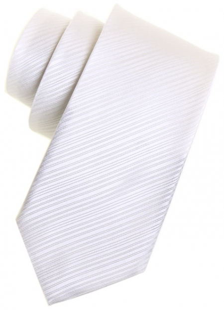 Boys white tie in striped fabric