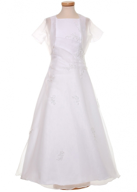 Embroidered Communion Dress With Net Bolero and Dolly Bag