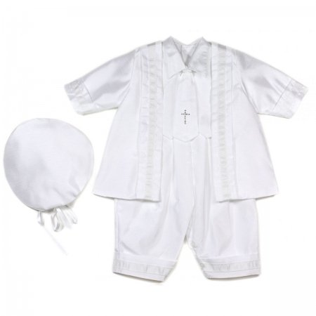 Baby boys christening outfits romper suit in white with a cross tie