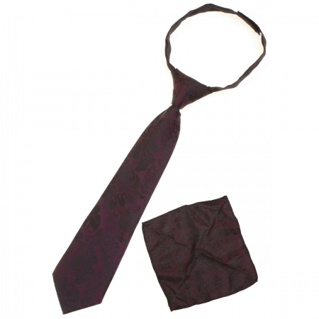 Boys tie And Handkerchief in burgundy with black pattern