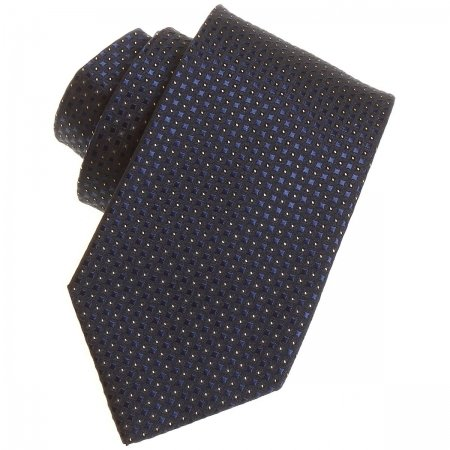 Boys fashion tie in nany with navy and gold dots