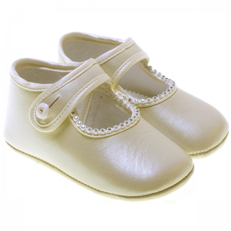 Baby Girls Pearl Ivory Leather Cuquito shoes