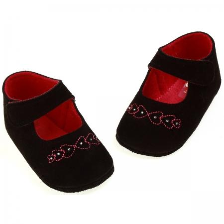 SALE Baby girl black velvet shoes from