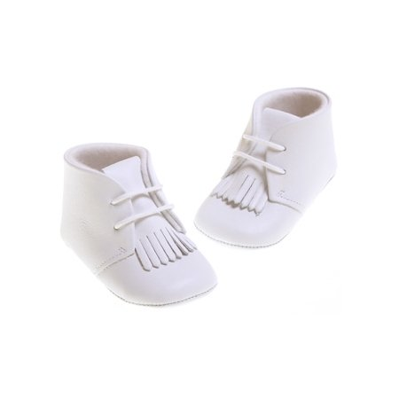 Baby boys white leather booties