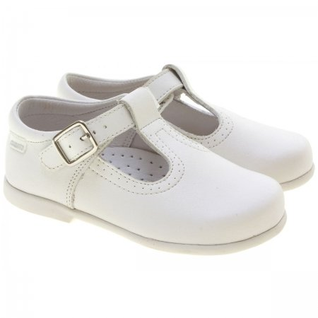 White T Bar Shoes in Matt Leather