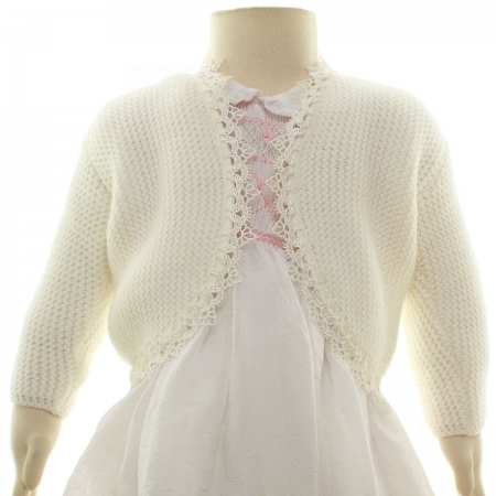 Thick Ivory Baby Bolero With Lace Trim
