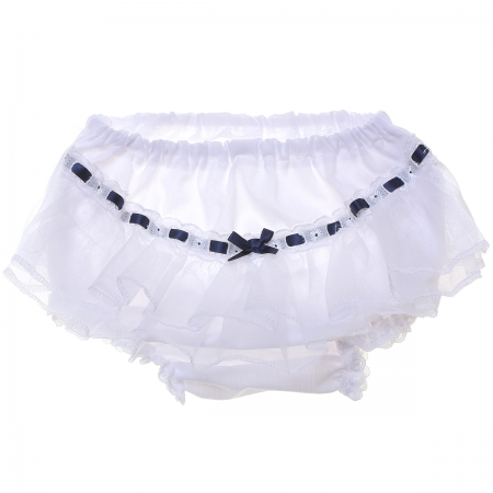 Baby Girls White Navy Frilly Knickers With Organza