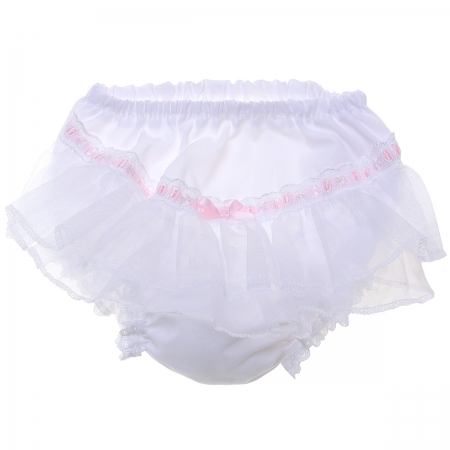 Baby Girls White Frilly Knickers Pink Ribbon