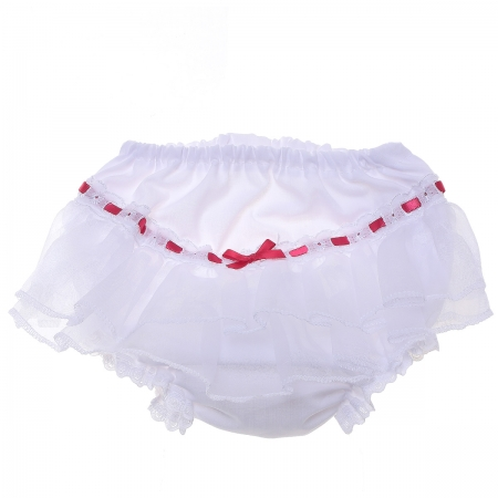 White Lace Red Ribbon Baby Girls Frilly Knickers