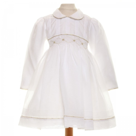 SALE Beatrice White Smocked Dress With Gold Embroideries