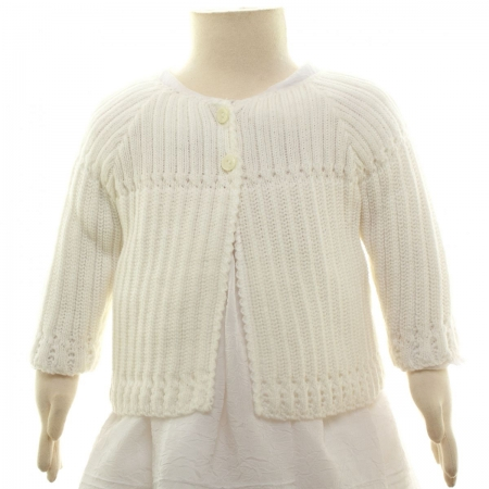 Baby Girls Matinee Bolero With Chunky Knitted Pattern