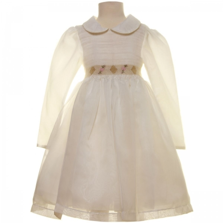 SALE Ivory Smocked Dress with gold embroideries