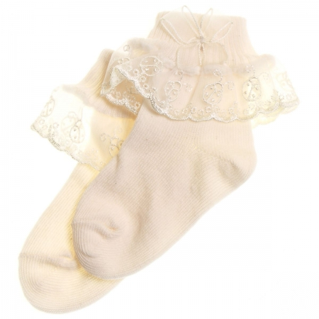 Baby And girl frilly ivory socks with ladybird pattern