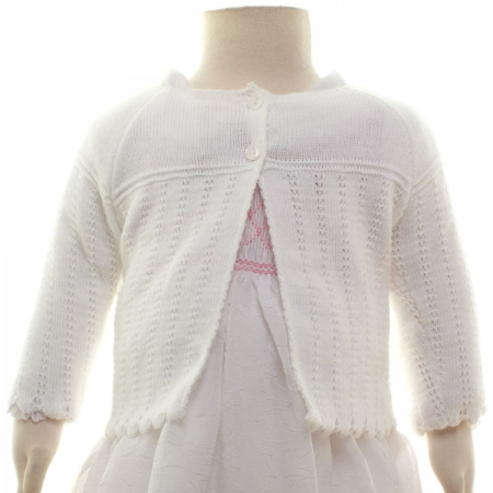 Picot Edge Pattern Baby Girls White Bolero
