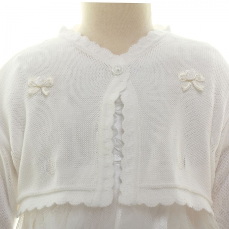 Baby Girls White Bolero With Frill Trims and Flower Bows