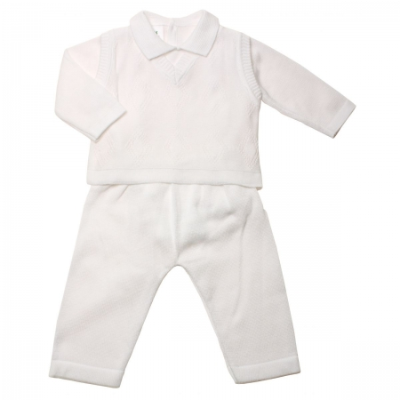Winter Warm 3 Piece Boys Christening Outfit in White