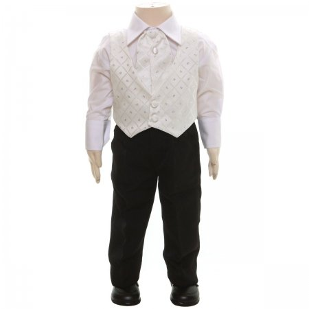 Boys Wedding or Christening Outfit White Waistcoat With Black Trousers