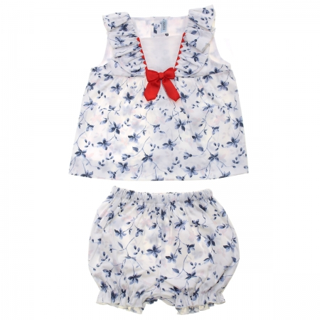 Spanish Popys Baby White Blue Floral Long Top And Frilly Panty Shorts Set