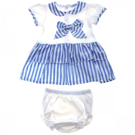 Spanish Popys Baby Girls White Blue Stripes Dress Panty Set