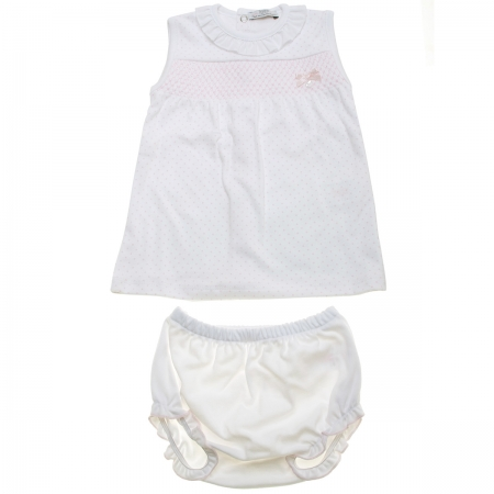 Spanish Popys Baby Girls White Pink Smocked Top And Panties Set