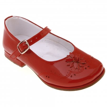SALE Girls Red Patent Mary Jane Shoes Leather Flowers