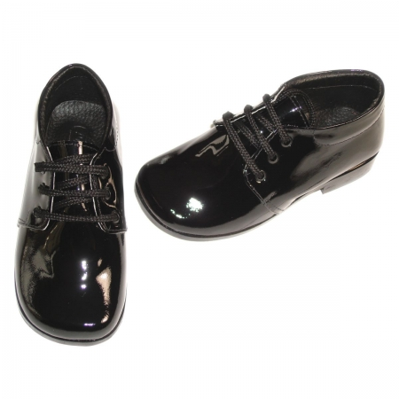 Traditional boys black patent shoes