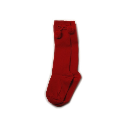 Baby girls red pom pom socks knee high
