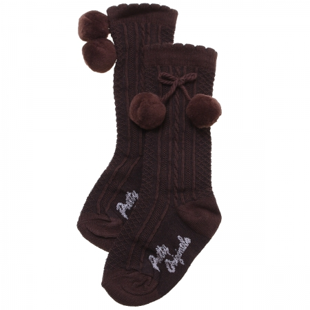Pretty Originals Baby Knee High Choco Brown Pom Pom Socks Scallop Edge