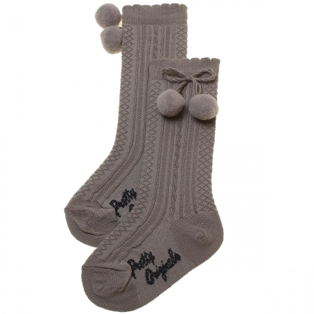 Baby Knee High Grey Pom Pom Socks Scallop Edge