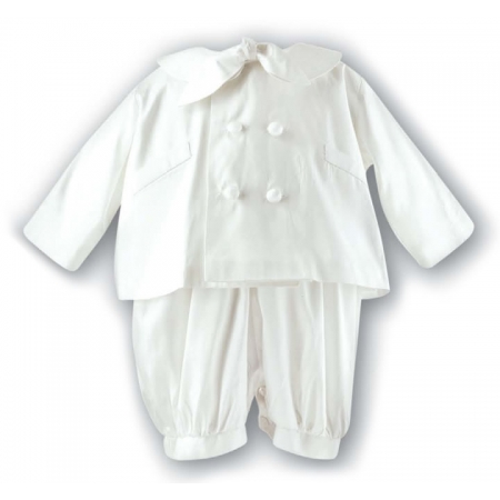 Sarah Louise Boys Christening Romper in Ivory Silk