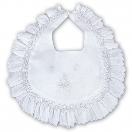 Frilly White Bib With Smocking And Embroideries