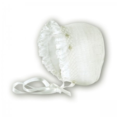 Baby girl bonnet in ivory