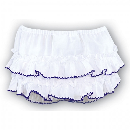 Sarah Louise baby girls frilly knicker in white navy