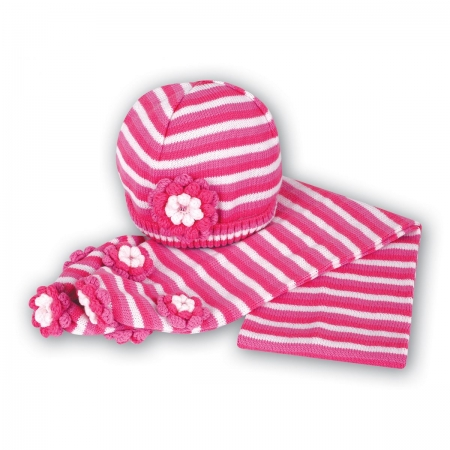 Sarah Louise Pink Hat And Scarf Set